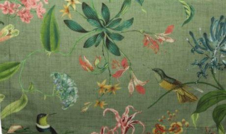 Meterstoff COSTA RICA Exotik olivgrün LAZIS Stoff Sommer online kaufen La Cassetta