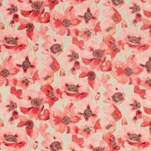 SANDERSON UK EMBLETON claret linen 1 Klatschmohnblumen rot leinen La Cassetta