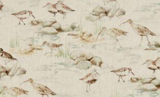 SANDERSON UK ESTUARY BIRDS linen eggshell nest 1 Strandvögel leinen Eierschalen La Cassetta