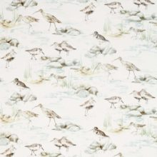 SANDERSON UK ESTUARY BIRDS mist ivory 1 Strandvögel blau Elfenbein Embleton Bay La Cassetta