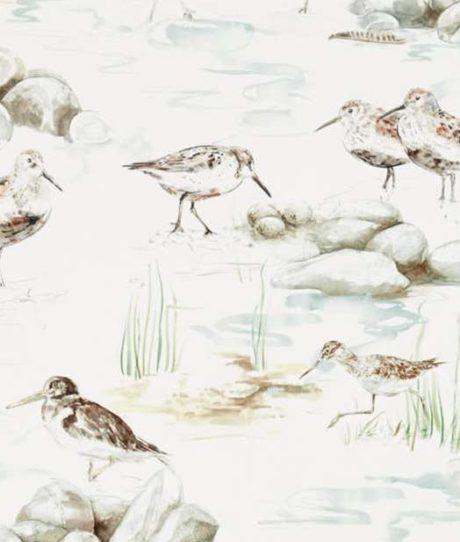 SANDERSON UK ESTUARY BIRDS mist ivory 2 Strandvögel blau Elfenbein Embleton Bay La Cassetta