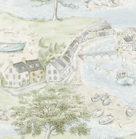 SANDERSON UK SEA HOUSES tidewater blue 2 Häuser am See blau grün La Cassetta