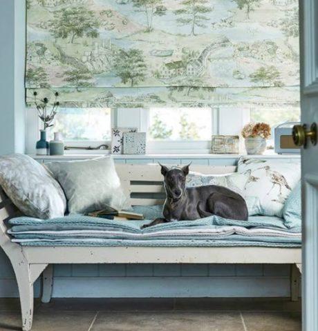 SANDERSON UK SEA HOUSES tidewater blue 3 Häuser am See blau grün La Cassetta