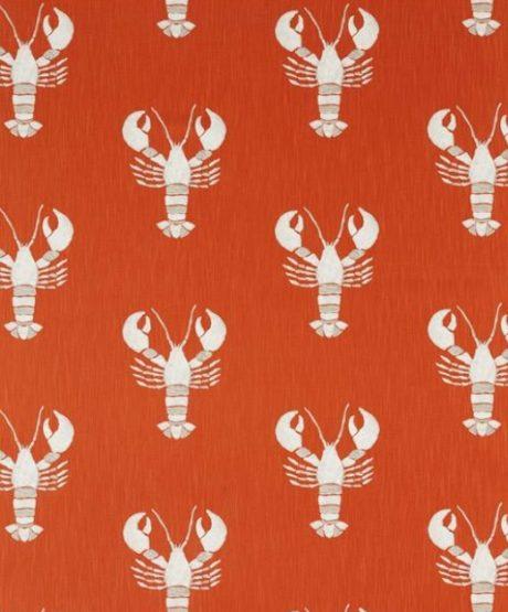 SANDERSON UK Cromer rust 1 Hummer lobster orange maritime Stoffe online kaufen La Cassetta