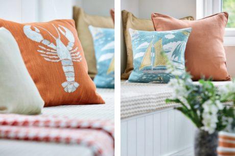 SANDERSON UK Cromer rust 3 Hummer lobster orange maritime Stoffe online kaufen La Cassetta