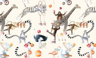 THEVENON Stoff La Cassetta CIRCUS PARADE 2 Zirkus Tiere Artisten online kaufen