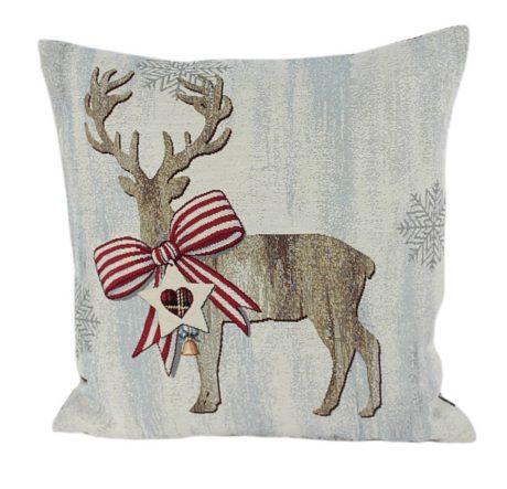 Kissenhülle 50x50cm RENTIER mit Schleife Steen Design Winter Weihnachten La Cassetta online kaufen