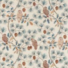 SANDERSON UK OWLSWICK teal 1 Meterstoff Herbst Wald Eule Zapfen La Cassetta online kaufen