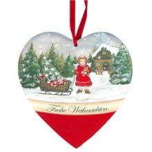 Dekoschild Herz Engel mit Schlitten Paketen Teddy Frohe Weihnachten Land Art Kunsthandwerk online kaufen La Cassetta