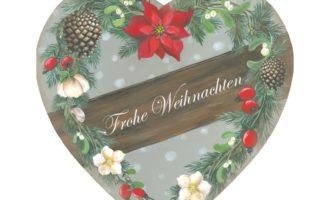 Holzschild HERZ groß grau Winterblumen Zapfen Mistel Hagebutte Christrose Weihnachtsstern Land Art Kunsthandwerk La Cassetta