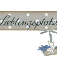 Holzschild LIEBLINGSPLATZ mit Lavendelkorb Land Art Kunsthandwerk bei La Cassetta online kaufen