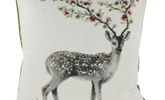Kissenhülle 60x60cm PAULINE LODEN grün Steen Design Hirsch Geweih Blumen online kaufen La Cassetta