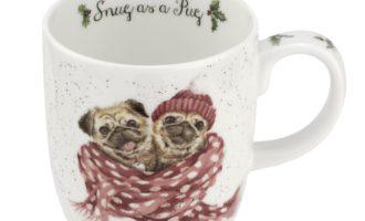 Royal Worcester WRENDALE Christmas SNUG AS A PUG Möpse Tasse Mug La Cassetta online kaufen