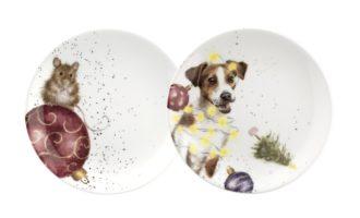 Royal Worcester WRENDALE Dessertteller coupe plates 2er Set X-Mas Weihnachten Maus Hund La Cassetta online kaufen