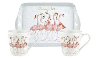 WRENDALE DESIGN Mug & Tray Set Flamingle Bells Tassen mit Tablett Weihnachtsgeschenke La Cassetta online kaufen