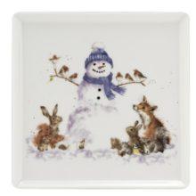 Royal Worcester WRENDALE DESIGNS square plate SNOWMAN Schneemann Teller quadratisch online kaufen La Cassetta