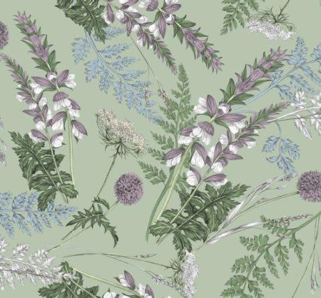 THEVENON Stoff ACANTHE fond vert lichen Blumen 1 Wildblumen Gräser mint lila La Cassetta Meterstoffe Online Shop