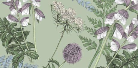 THEVENON Stoff ACANTHE fond vert lichen Blumen 3 Wildblumen Gräser mint lila La Cassetta Meterstoffe Online Shop