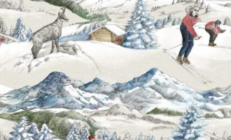 THEVENON Stoff La Poudreuse fond neige VERLOURS Skifahrer Winter Schnee alpin Meterstoffe online kaufen La Cassetta