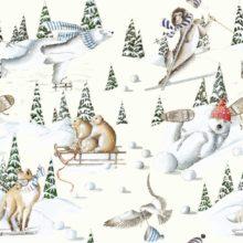THEVENON Stoff Tous au ski fond creme Tiere Ski Schnee 1 Winter Stoffe online kaufen bei La Cassetta