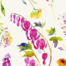 THEVENON Stoff VIRGINIE fond crème Blumen 1 Meterstoffe online kaufen bei La Cassetta